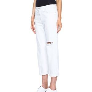 Acne Studios Pop Trash Destroyed White Jeans